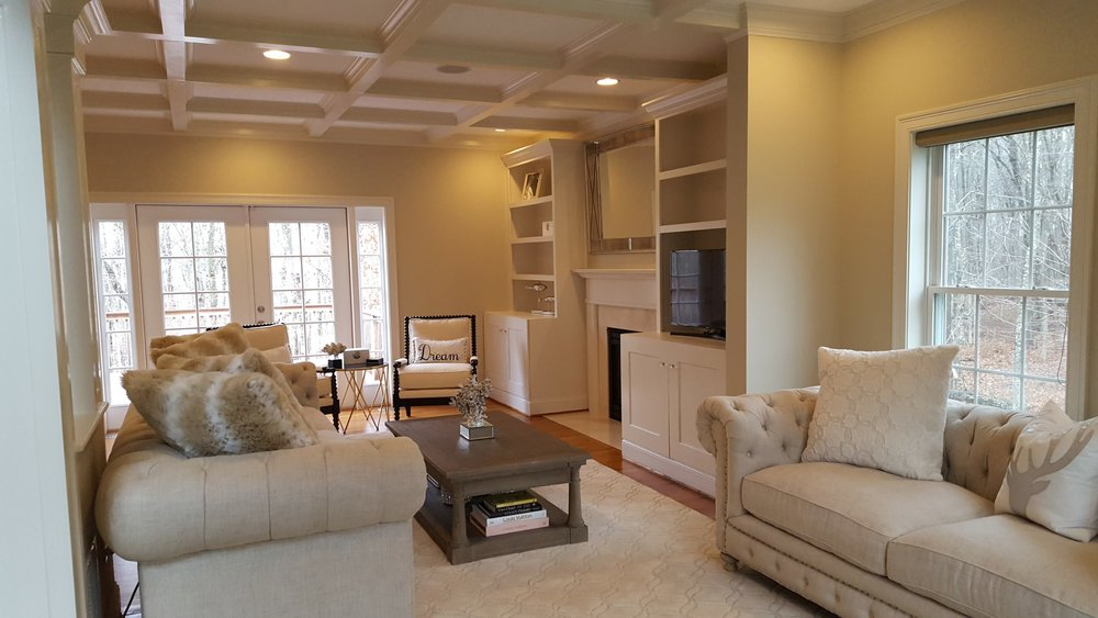 Custom carpentry, built ins, columns, and coffered ceilings in East Lyme CT | Shaw Remodeling