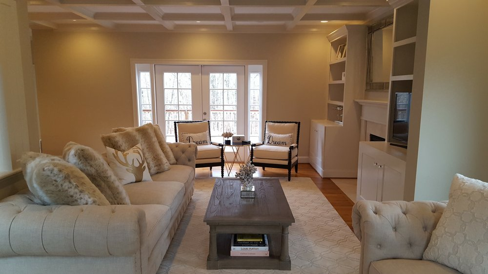 Living Room Remodel with Custom Built Ins in East Lyme CT | Shaw Remodeling