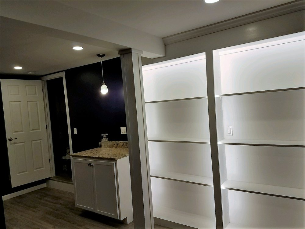 FULL BASEMENT FINISHES · DESIGNS AND REMODELS · LIVING SPACES · BEDROOMS ·  BATHROOMS