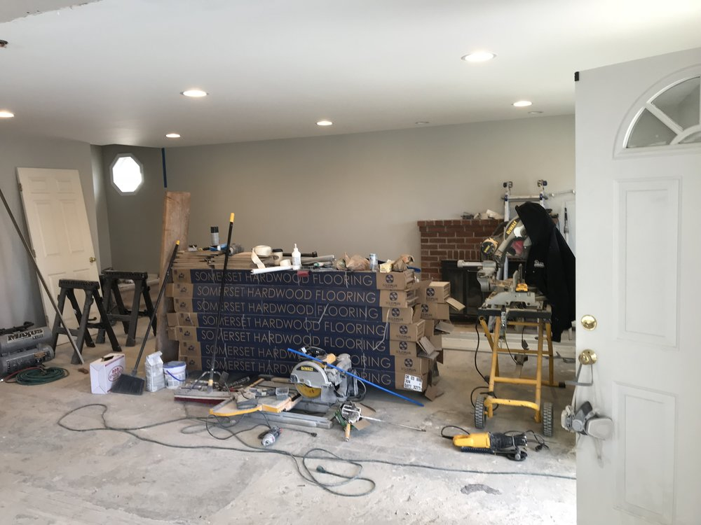Shaw Remodeling - Progress photo - Kitchen and Living Room renovations - drywall - Niantic CT (1).jpg