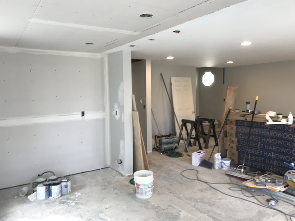 Shaw Remodeling - Progress photo - Kitchen and Living Room renovations - drywall - Niantic CT (4).jpg