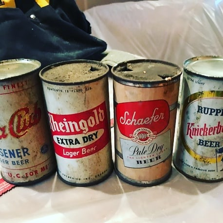 The crew found these vintage beer cans in the walls during demo! 😮🙃 #rememberwhen #beer #vintage #vintagebeer #backintheday #remodeling #demo