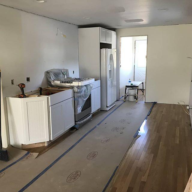 Sneak peek of this Niantic kitchen remodel!  #cabinetday #remodeling#remodel #hardwoodfloors #whitekitchen #renovation #shawremodeling #kitchendesign #niantic #remodelingcompany  shawremodeling.com