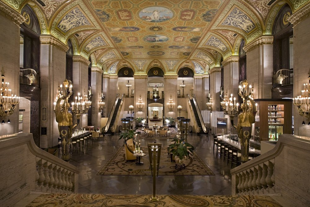 The main lobby of the Palmer House hotel.
