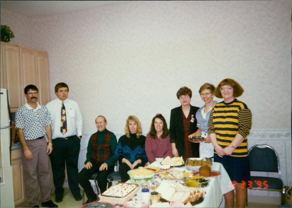 Poe, Moeller, Seydel, Amber Yates, Pam Porfily, Judy Clemens, Barbara Apple & Brenda Swart - 1995 Christmas Party
