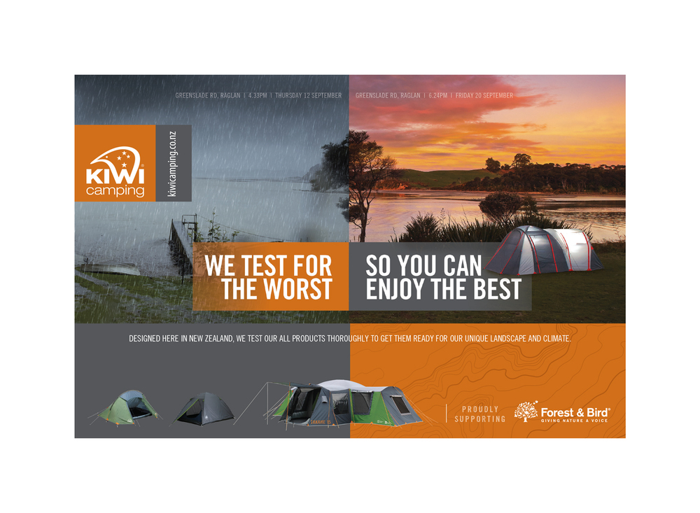 Campaign for Kiwi Camping focusing on quality control to inspire confidence in the product