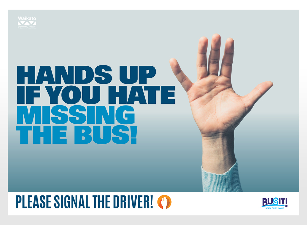 Campaign to encourage bus users to signal the driver at stops