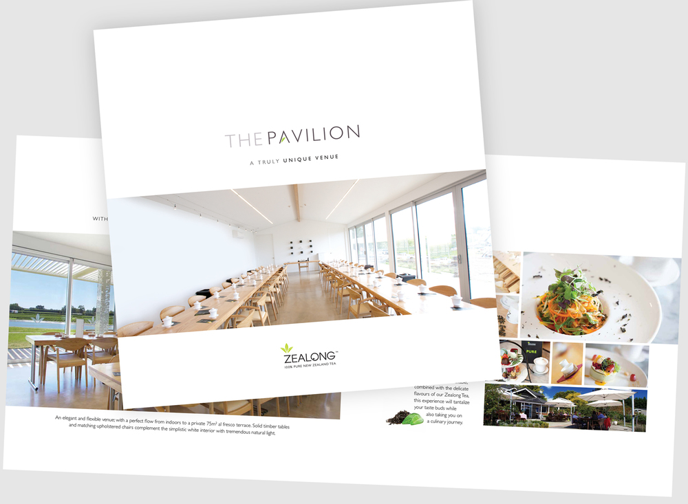 Promotional brochure for The Pavilion conference centre at Zealong
