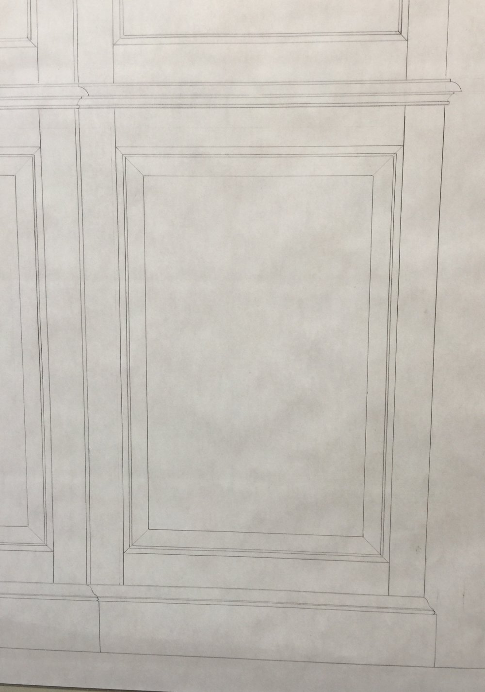 Detail of drawing of the lower right door and waist molding and base.