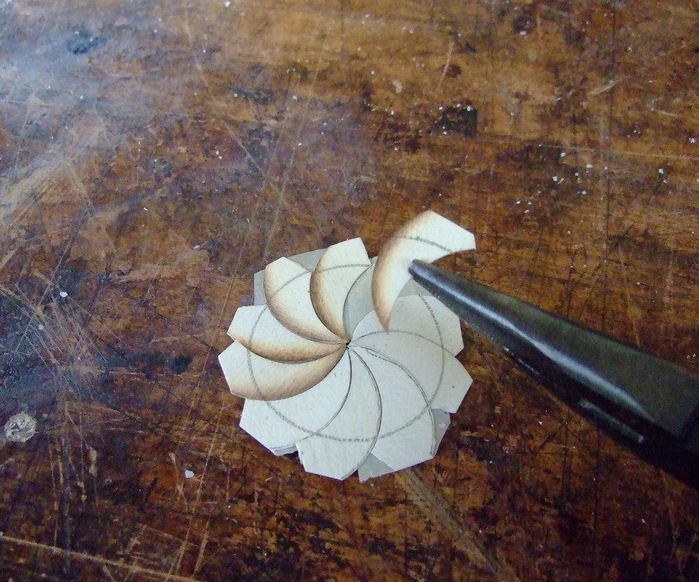 Assembling the pinwheels.