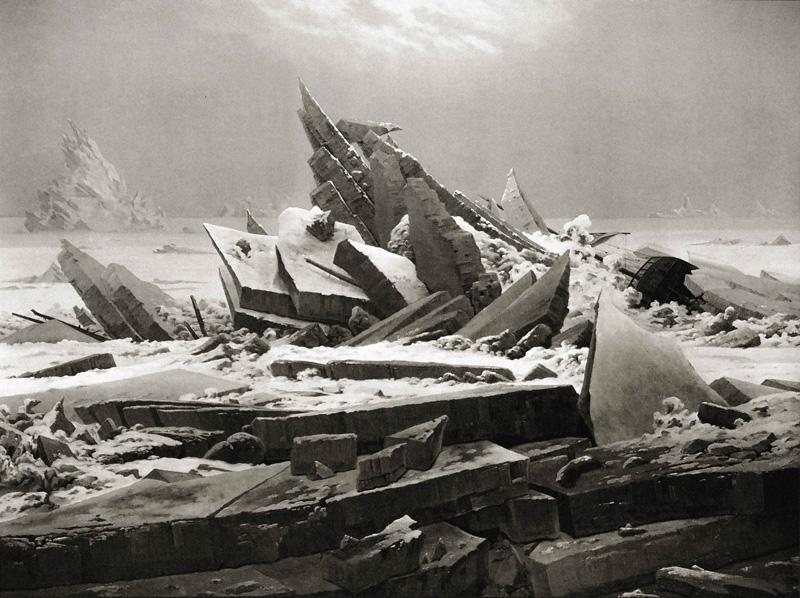 Caspar David Friedrich, The Sea of Ice aka Polar Sea, 1823/1824 Placement:Qualquer parte do corpo, desde que tenha tamanho apropriado e suficiente para que o tema possa ser satisfatoriamente explorado. Incluvise Full BodySuite.