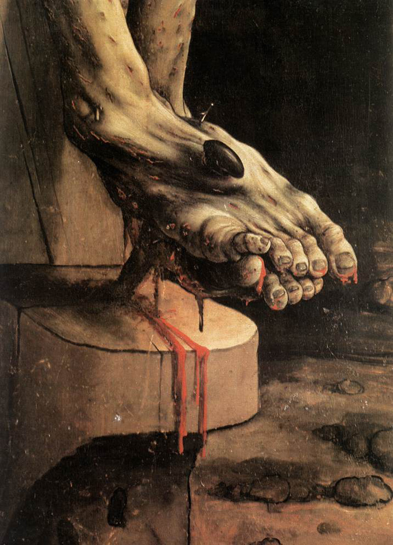 Matthias Grünewald, The Crucifixion, senheim Altarpiece, foot detail, 1512/1515.   Placement: Qualquer parte do corpo, desde que tenha tamanho apropriado e suficiente para que o tema possa ser satisfatoriamente explorado.