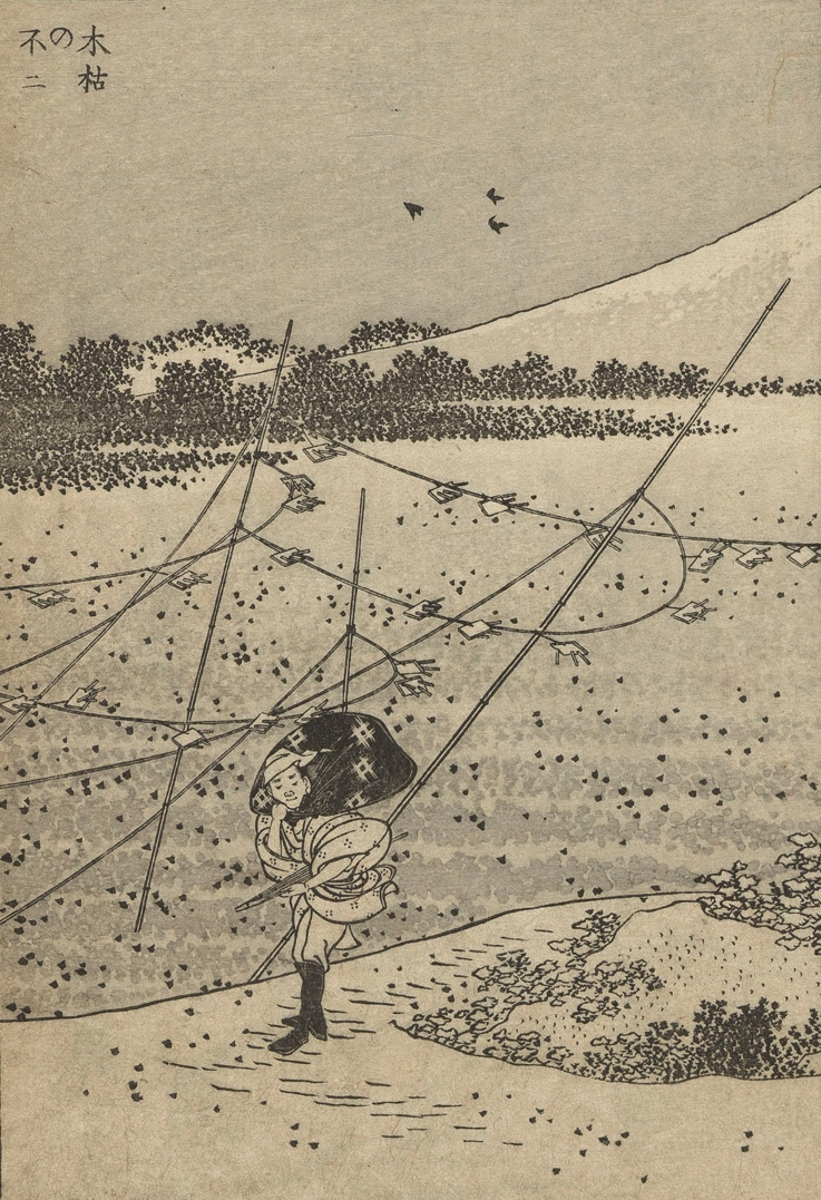 ne Hundred Views of Mount Fuji, volume 1,Detail, Hokusai, 1835.