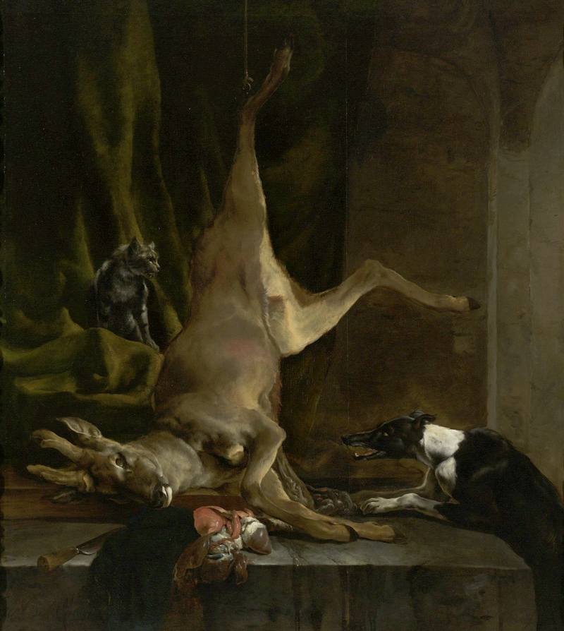 Jan Baptist Weenix, A Dog and a Cat near a Partially Disembowelled Deer, circa 1647/1660