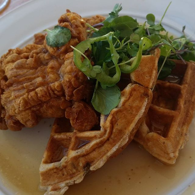 Brunch at Simon Pearce Flagship Restaurant in Quechee VT. I got the diet plate..fried chicken with a pistachio waffle, with chili maple syrup and arugula. ..see its a salad. ..LOL