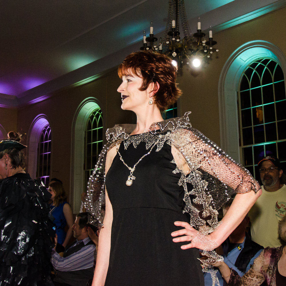 On runway at 2018 Salem Arts Festival Fashion Show Fundraiser.