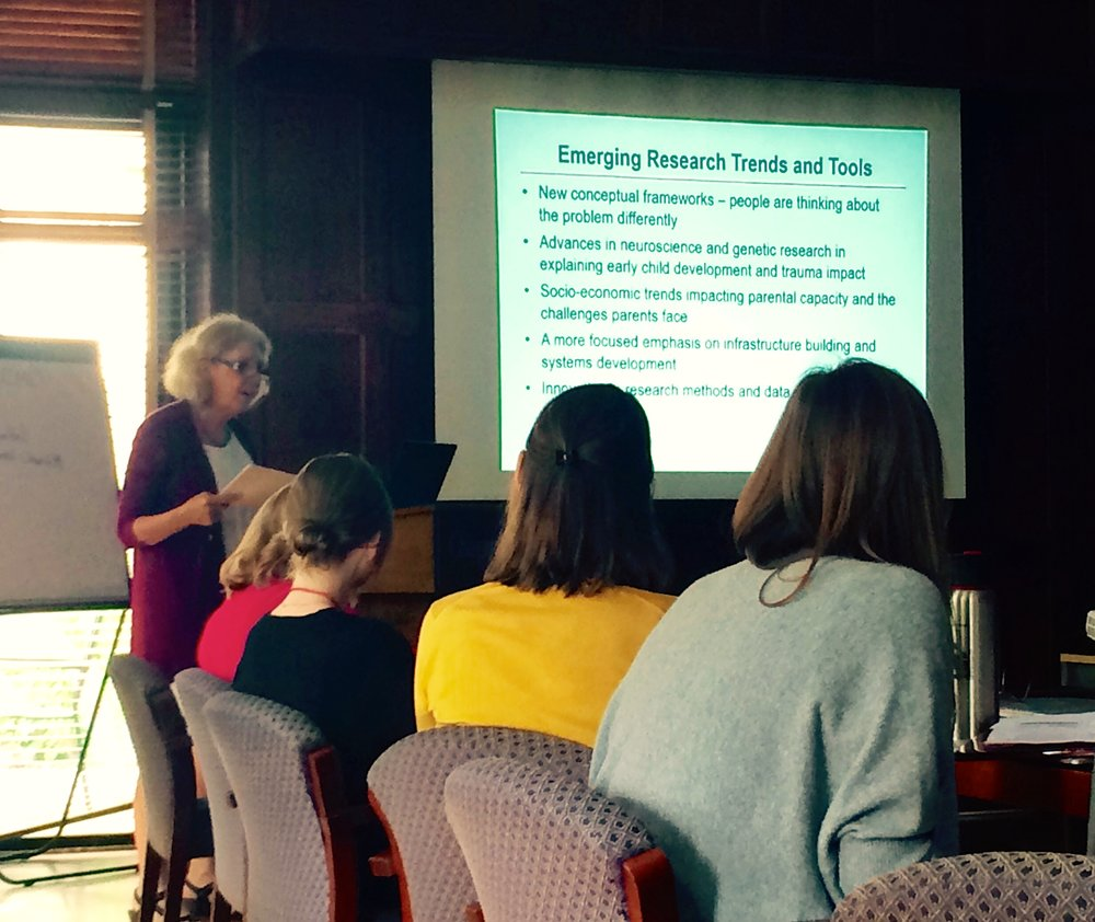 Dr. Deborah Daro, Fellowships Chair, presenting to Cohort Six Fellows.