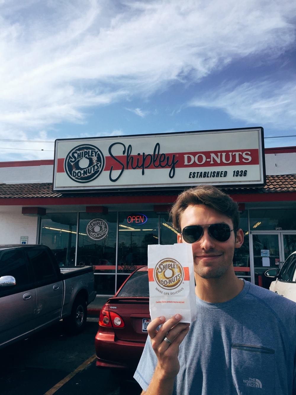 Hunter enjoying his donut