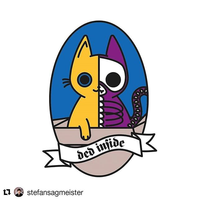 "#Repost @stefansagmeister @zeitverzoegert writes: I illustrated a little Schrodinger's cat and I'm thinking about making it an enamel pin. Still not sure about the font and colors though. ⠀ (Text says ""ded inside"".)⠀ ⠀ my review: Yes, the colors seem random. I'm not good with colors myself, so I started taking pictures of any great color combination I come across and then apply it to a project. This has always led to a good beginning for a scheme that then needs fine tuning. The type should be larger, and lilley fill out the entire band, and I'd exchange the old time 's"" to a more legible one. Having said that, I think this would make a lovely pin. The half/half concept has become rather trendy by now (I've seen it first applied by the late, great Nagi Noda in Japan 15 years ago), but in your case it really works.⠀"