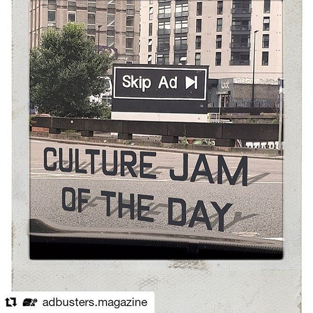 Still love Adbusters ... not sorry. // #Repost @adbusters.magazine Culture jam of the day, #skipad billboard spotted in #Bristol this morning. #culturejamoftheday #BrandalismUK #culturejamming