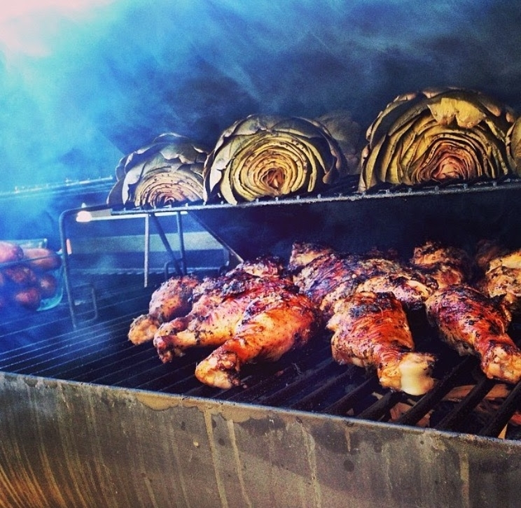 Jamaican Jerked Chicken & Smoked Artichokes. This was featured on Walkerswood Jerk Seasonings website.