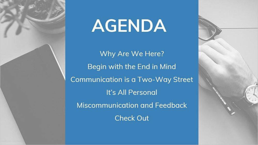 Communications workshop agenda