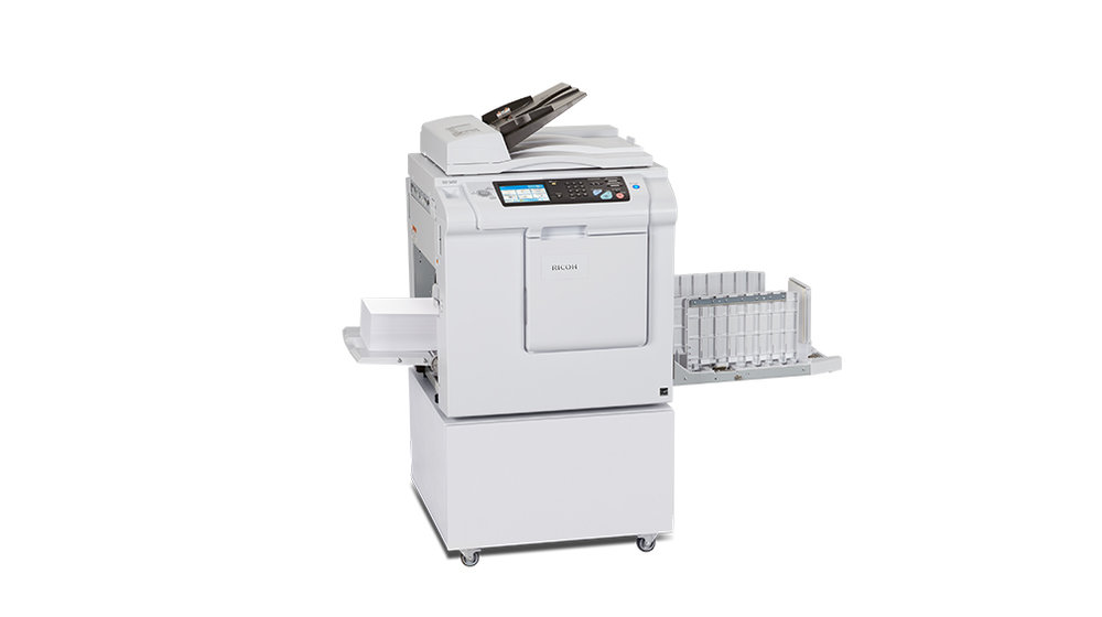 Copy or pring at 150 prints per minute with Ricoh South Pacific's digital duplicator print solutions.