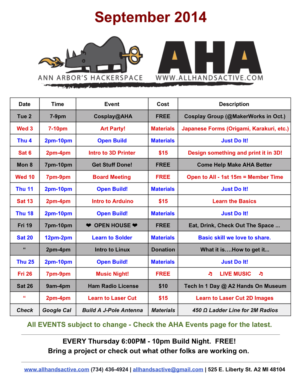 September 2014 schedule for  All Hands Active , a not-for-profit hacker space at 525 E Liberty St in Ann Arbor next to the Michigan Theater.