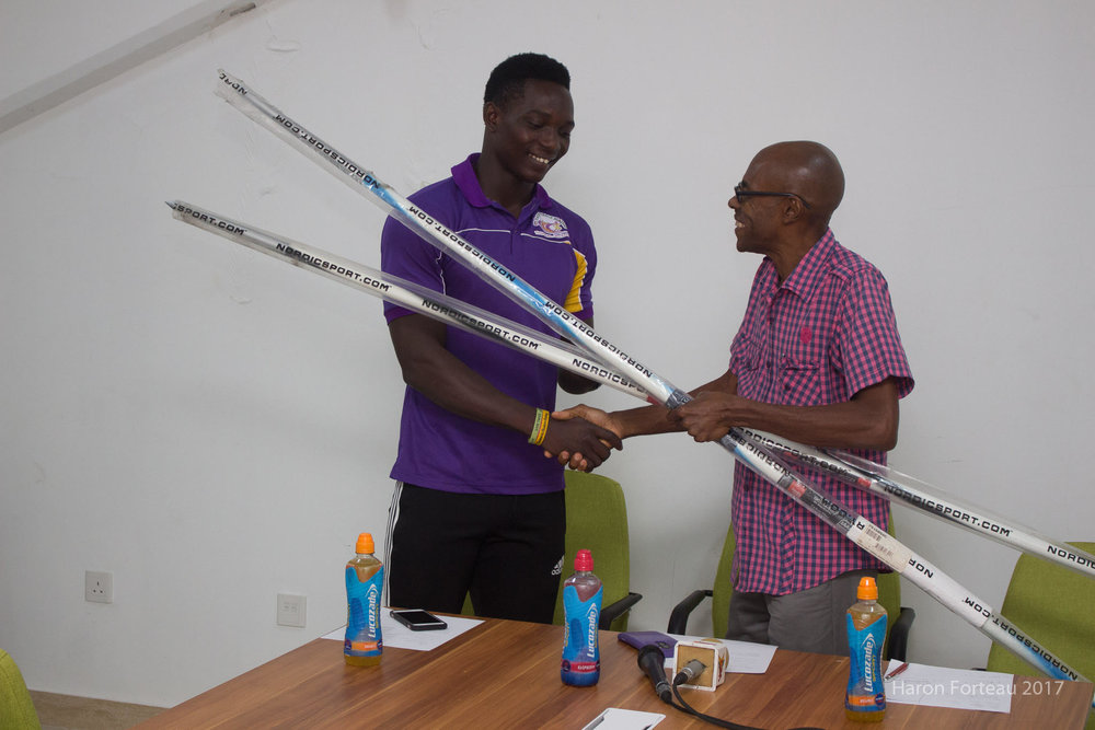 Two Javelins the PETNA Foundation recently donated to the SDTB were handed over to Anderson Peters (L) by Chalky Ventour (R).