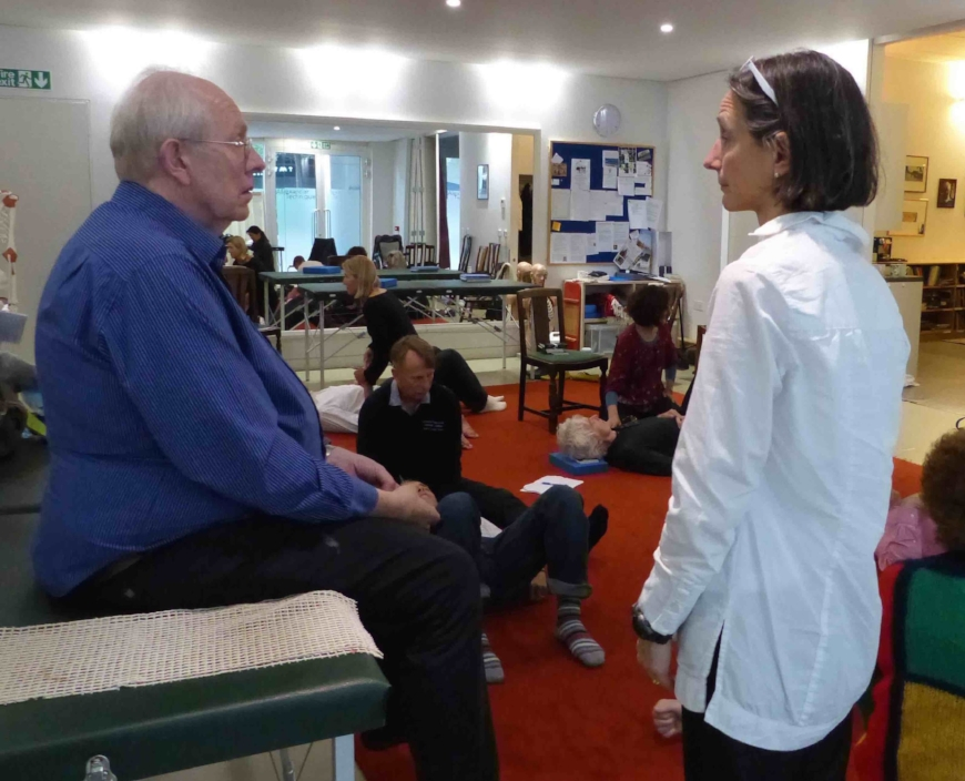 The Poise Project® Executive Director, Monika Gross, teaching some ease of sitting balance at workshop at the Constructive Teaching Centre, London, October 2016.