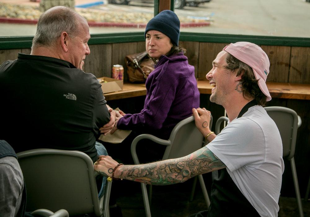 Scott talks with customers