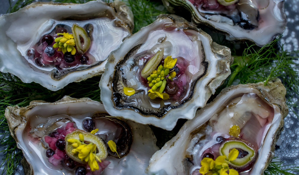Summerset Oysters with pickled Elderberry