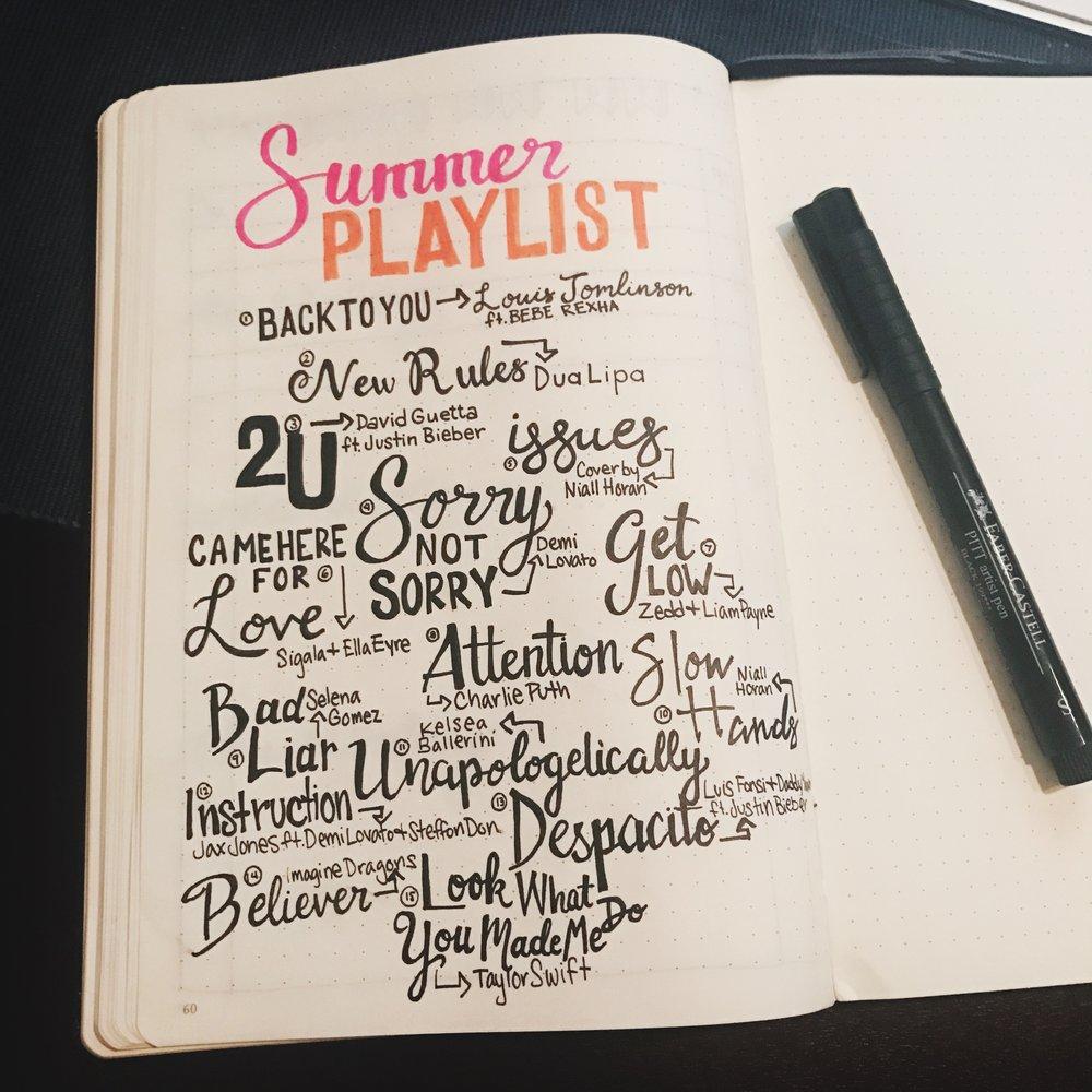 Summer Playlist 2017 Bullet Journal - Carolyn Burt