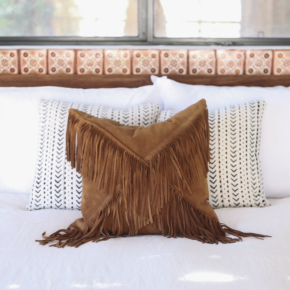 Suede Fringed Pillow // Lasso Abode