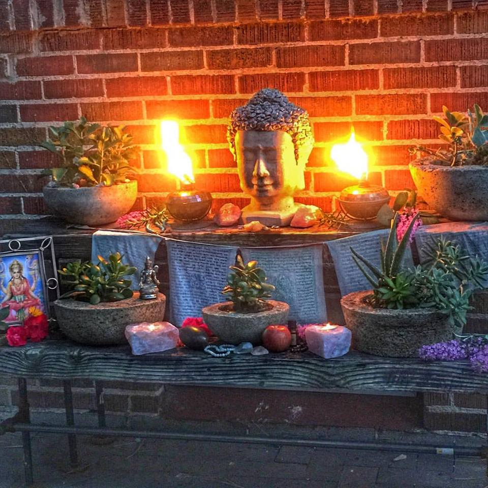 Patio Altar with Succulents in Hypertufa Pots