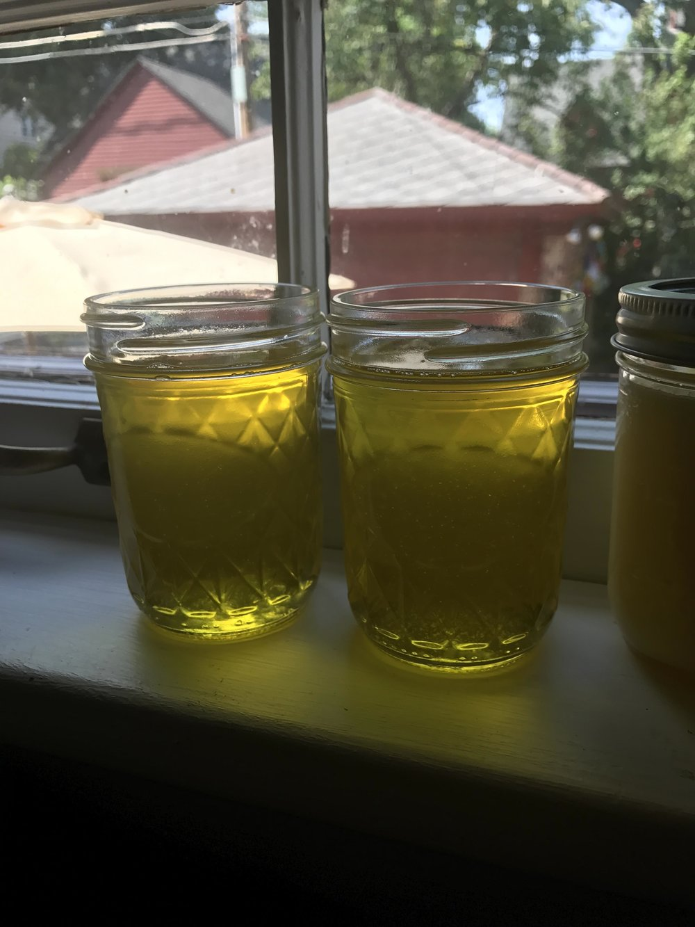 Ghee cooling on the window sill
