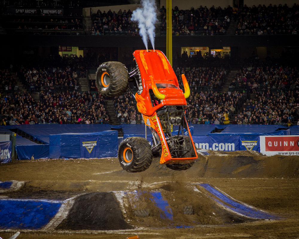 El Toro Loco competing in the two wheel event at Angel Stadium on February 10th, 2018. Always a fan favorite and never disappointing, this bull put on a great show in freestyle as well. Learn more about El Toro Loco at:  https://www.monsterjam.com/en-US/trucks/el-toro-loco