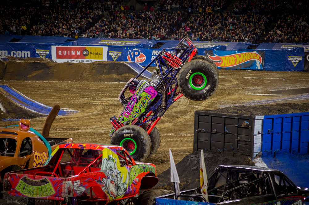 Wild Flower driver Rosalee Ramer getting up on her nose during the two wheel competition. Her crazy cyclone came just after this. Learn more about Wild Flower at:  https://www.monsterjam.com/en-US/trucks/wild-flower  or give Rosalee a follow on Instagram at rosaleeramer.