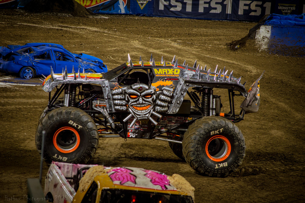 Max-D driven by Tom Meents. The most decorated truck on the circuit, Tom has won the racing title no less than 6 times and claimed the freestyle title 5 times at the World Finals in Vegas. Tom is the only driver to win both the racing title and freestyle title at the World Finals in the same year.