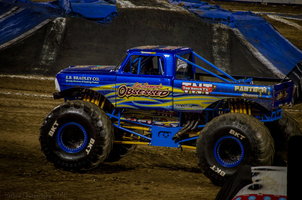 Obsessed is driven by Eric Swanson, the son of long time Obsession driver Rick Swanson. Eric is a young gun in the sport but is capable of scoring big on any given night. In Anaheim, Eric lost in round 2 of racing to the eventual winner Black Pearl and finished middle of the pack in both the two wheel challenge and freestyle. Eric has a bright future ahead of him and continues to learn at each and every event. Watch out for this truck in the near future.