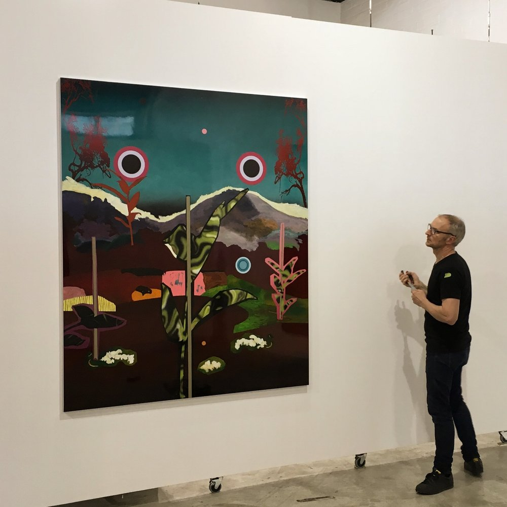 Dave installing 'I Read Day of the Triffids When I Lived in England (and now I live in Tasmania)', 2016, at This Is No Fantasy, Melbourne http://thisisnofantasy.com
