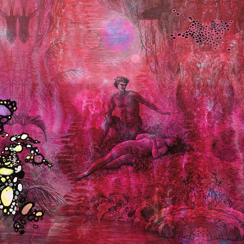 Neil Haddon, 2018,  All that a heart,  enamel paint, marker pen, lacquer and digital print on aluminium, each panel: 78 cm x 65 cm