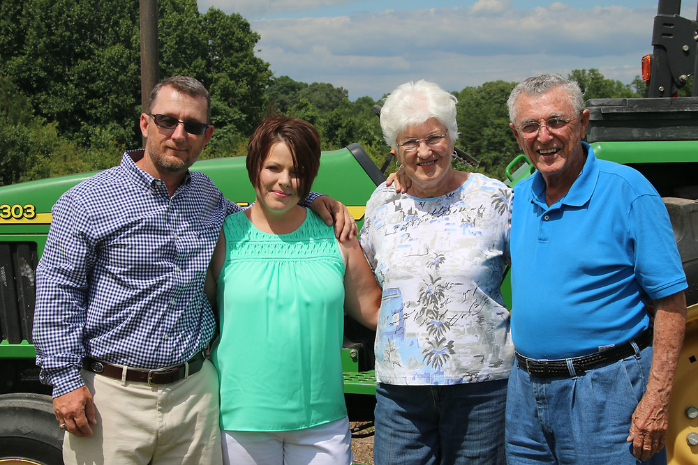 From left: Baron and Christy Johnson, along with Katherine and Don Nivens, who ran Nivens Apple Farm for many years in nearby Moore.