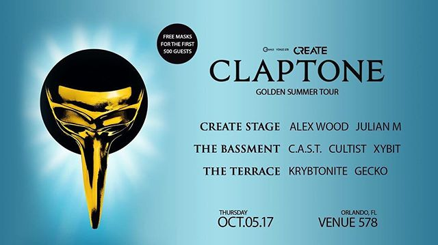 Are you excited for TONIGHT!? Heres your full lineup for Create - Claptone Golden Summer Tour - Thursday 10.05.17!  Tix: http://bit.ly/GoldenSummer578 Tables (21+): 407.883.9033  #Claptone #GoldenSummer #Venue578 #venue578girls #VIP #Orlando #HouseMusic