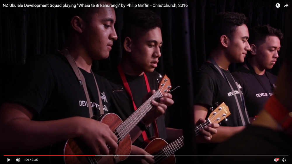 NZ Ukulele Development Squad    playing  Whaia te iti kahurangi by  Philip Griffin    Christchurch, 2016    Arrangement and Direction by Philip Griffin