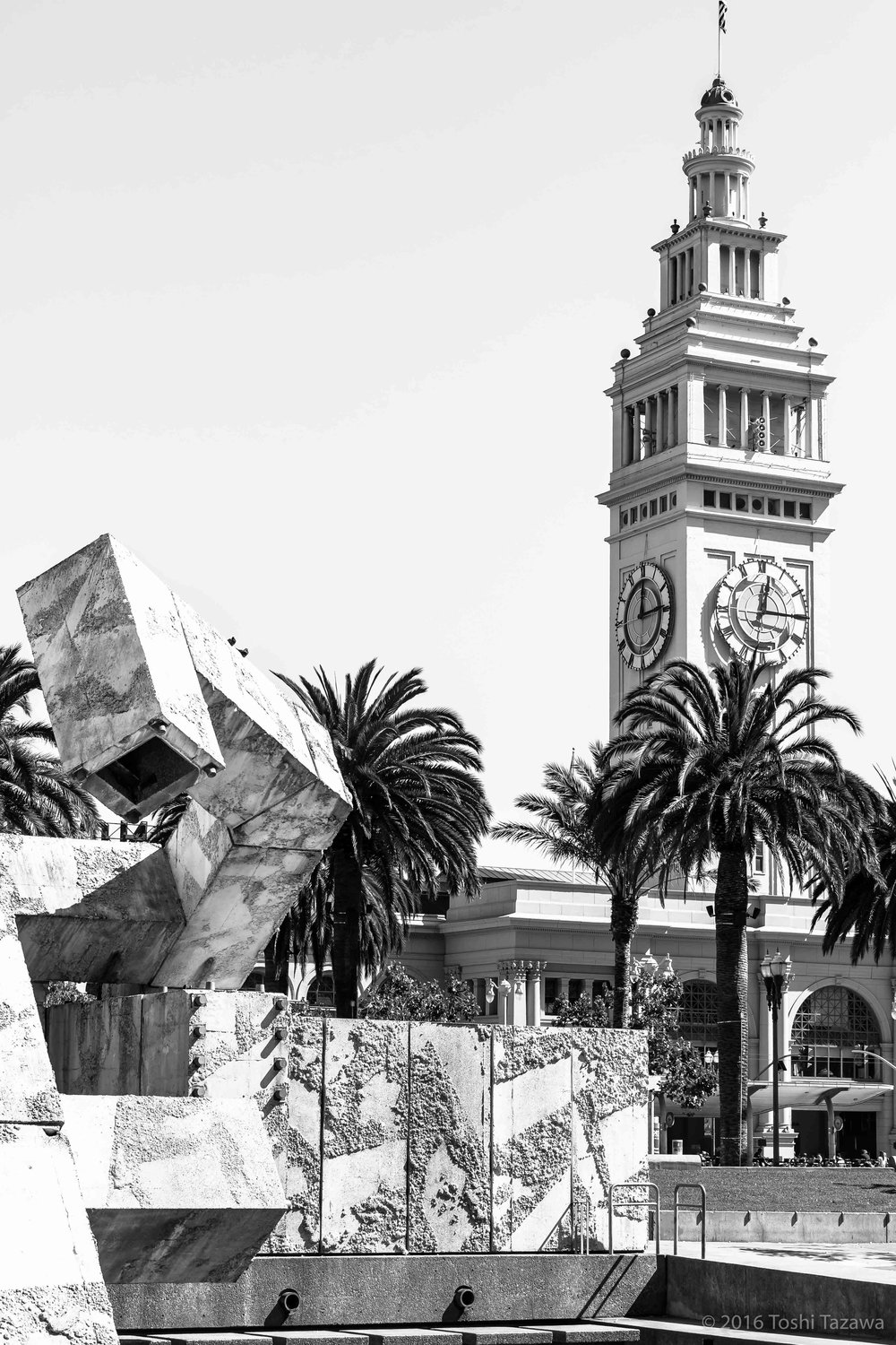 Ferry Building from Justin Herman Plaza (B&W)