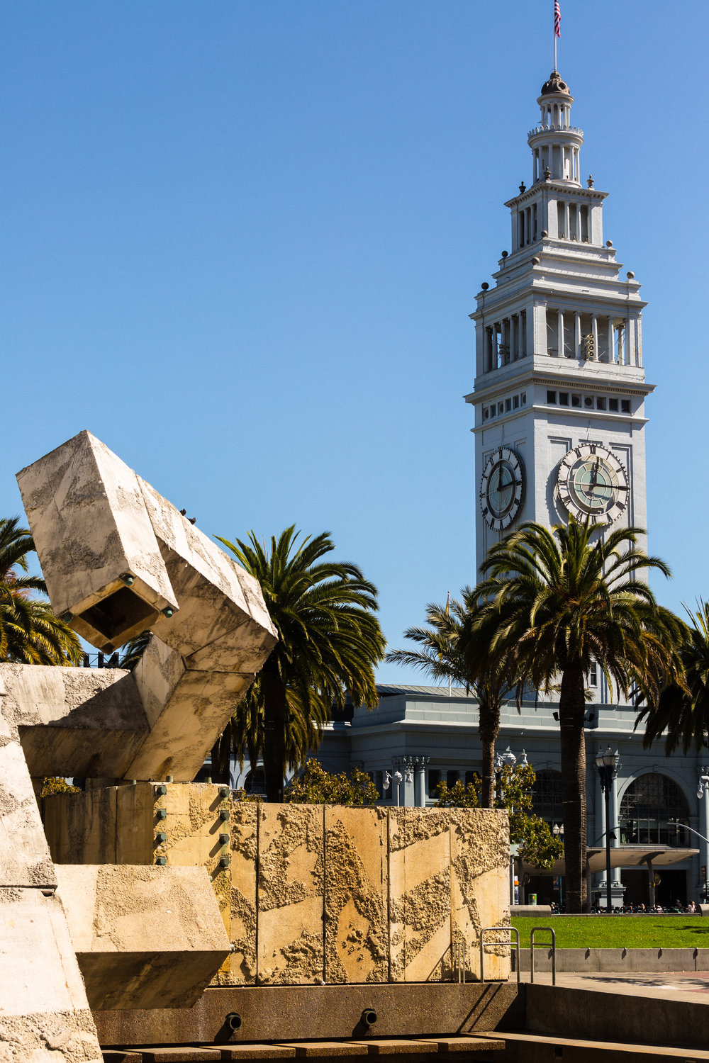 Ferry Building from Justin Herman Plaza (Telephoto Focal Length, Portrait Orientation)