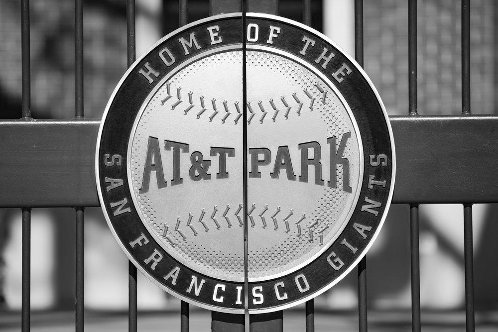 AT&T Park Emblem (Telephoto Focal Length, B&W, Landscape Orientation)