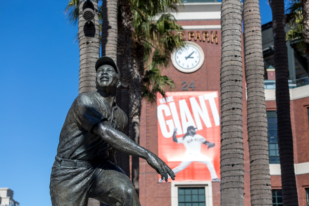 Willie Mays Statue (Telephoto Focal Length, Landscape Orientation)