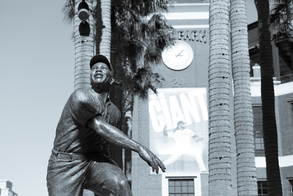 Willie Mays Statue (Telephoto Focal Length, B&W, Portrait Orientation)